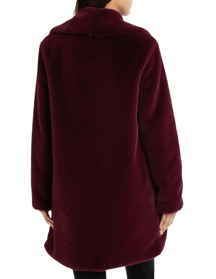 Shawl Collar Fur Coat Bordeaux image 3