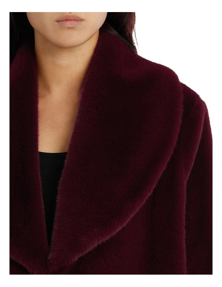 Shawl Collar Fur Coat Bordeaux image 4