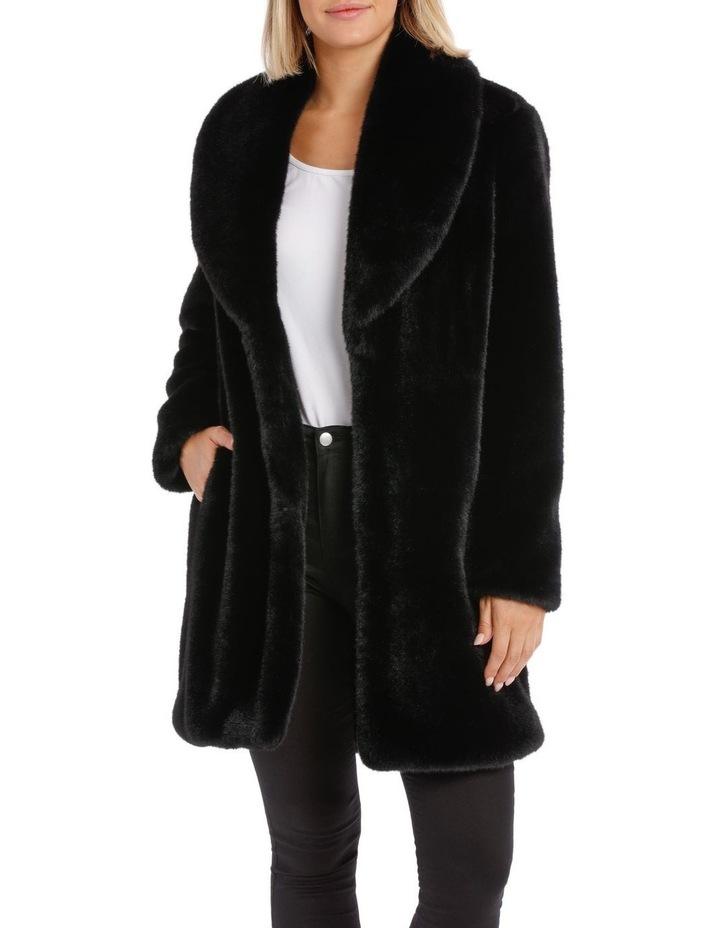 Shawl Collar Fur Coat Black image 1