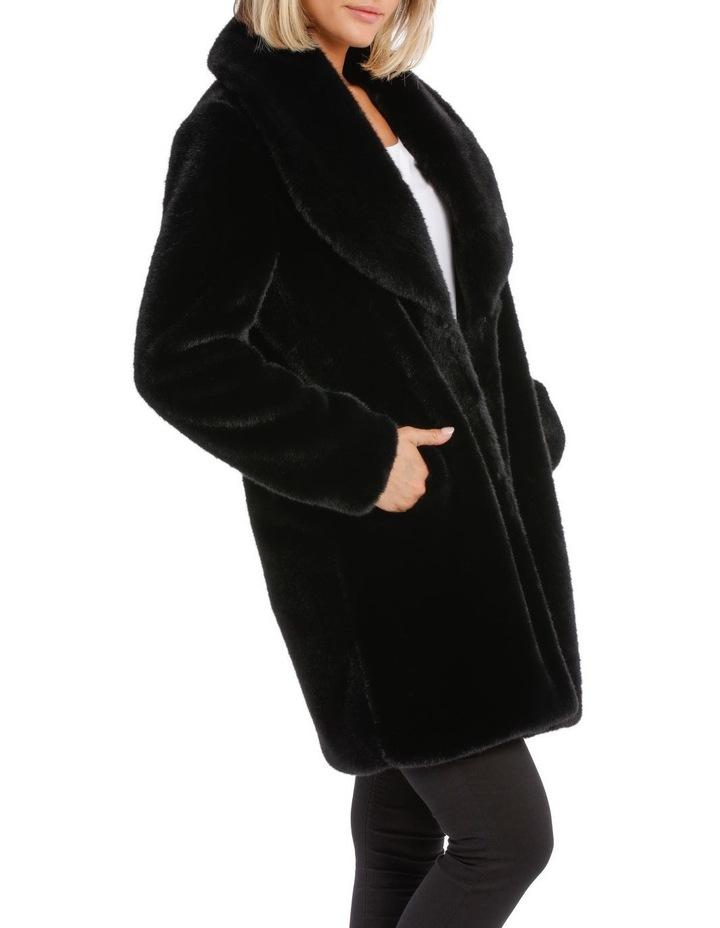 Shawl Collar Fur Coat Black image 2