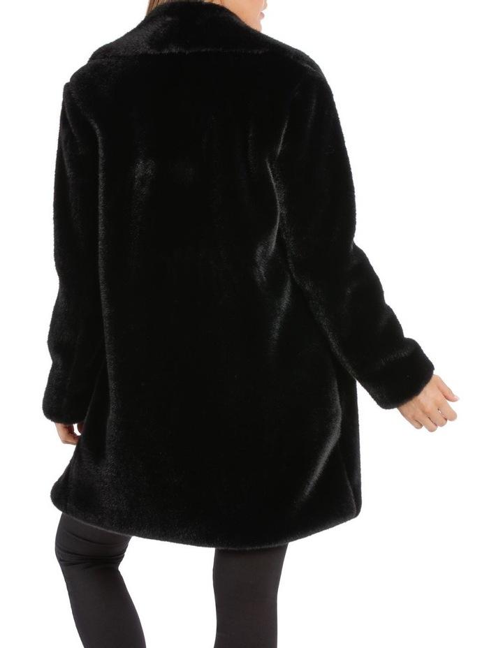Shawl Collar Fur Coat Black image 3