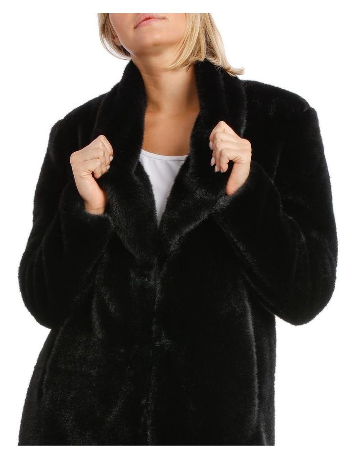 Shawl Collar Fur Coat Black image 4