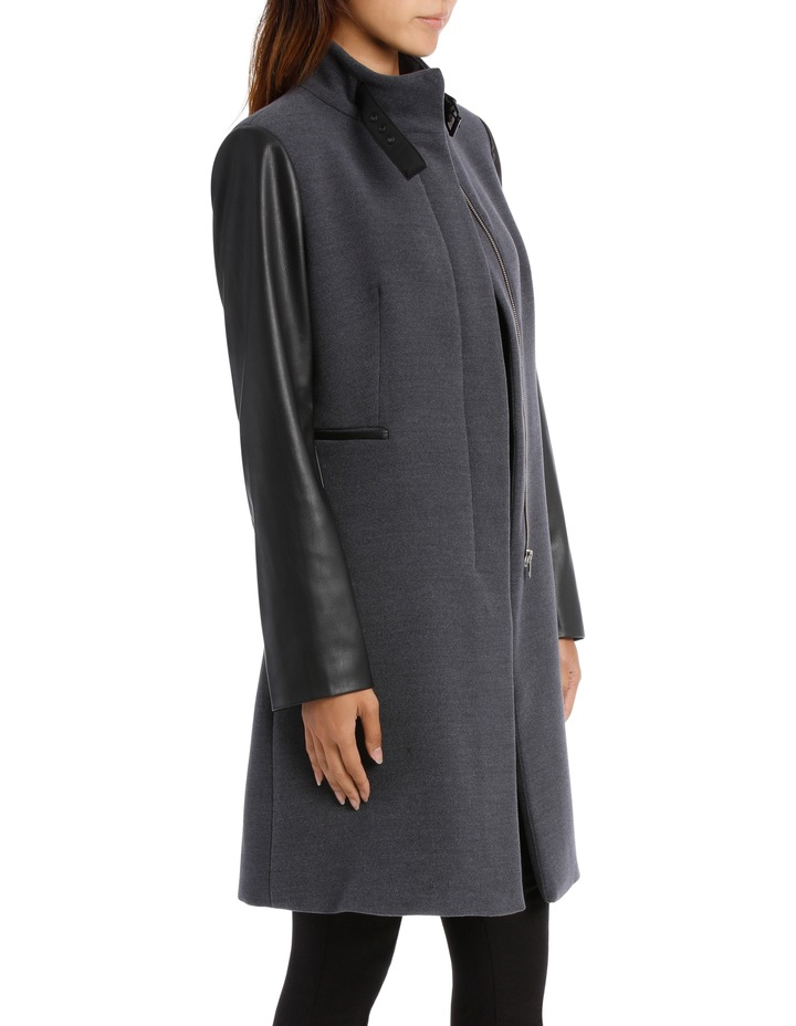 Charcoal Pleather Trim Coat image 2