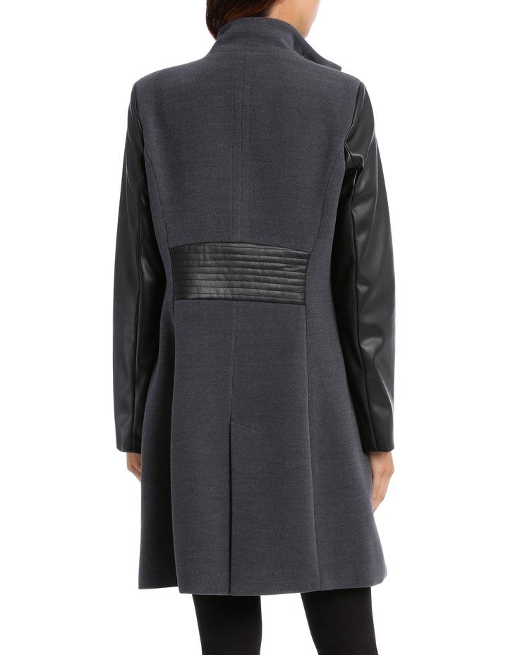 Charcoal Pleather Trim Coat image 3