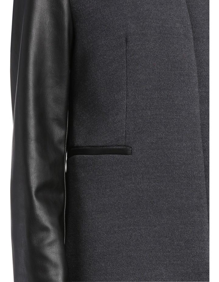 Charcoal Pleather Trim Coat image 4