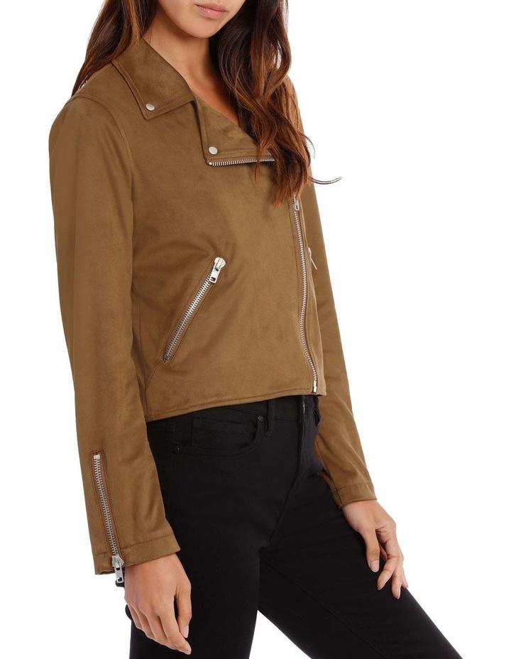Tan Suedette Biker Jacket image 2