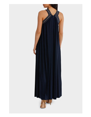 Wayne Cooper - Eyelet Trim Pleat Maxi Dress