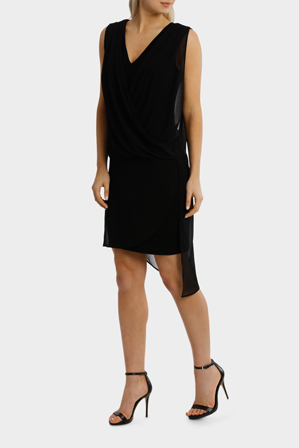 Wayne Cooper - Black Drape Overlay Dress