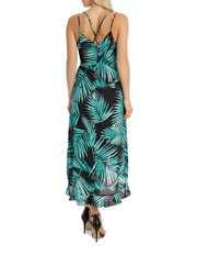 Wayne Cooper - Frill Midi Palm Dark Base Print Dress