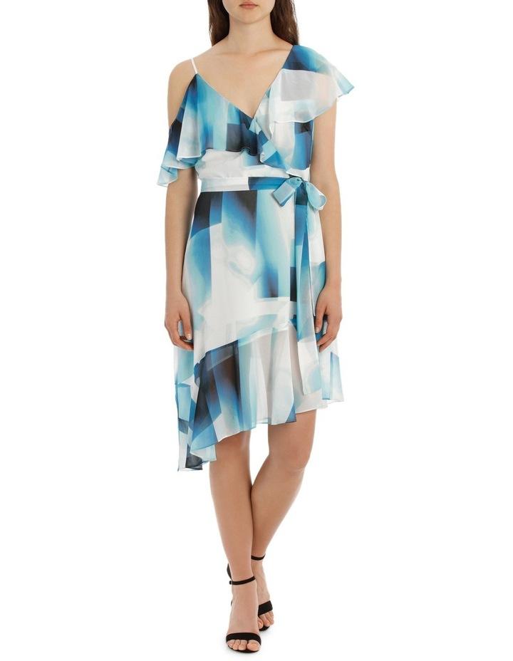 Asymmetric Blue Ink Frill Dress image 1