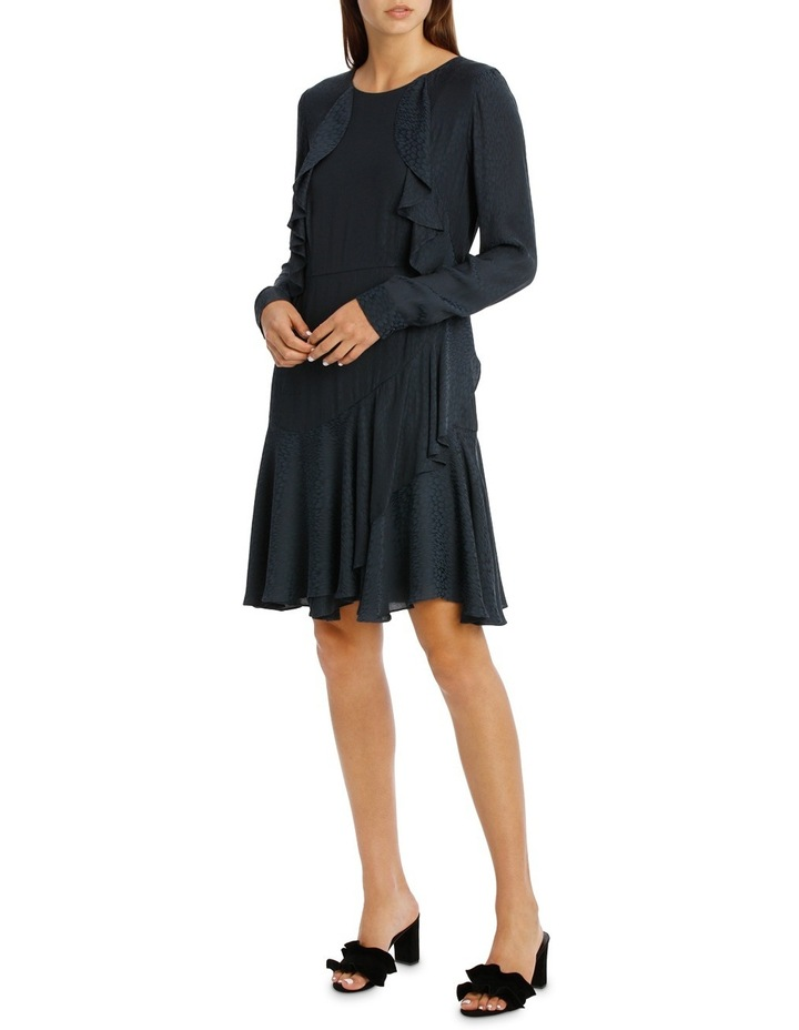 Midnight Asymmetric Long Sleeve Ruffle Dress image 2