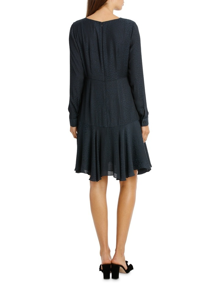 Midnight Asymmetric Long Sleeve Ruffle Dress image 3