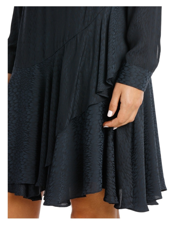 Midnight Asymmetric Long Sleeve Ruffle Dress image 4