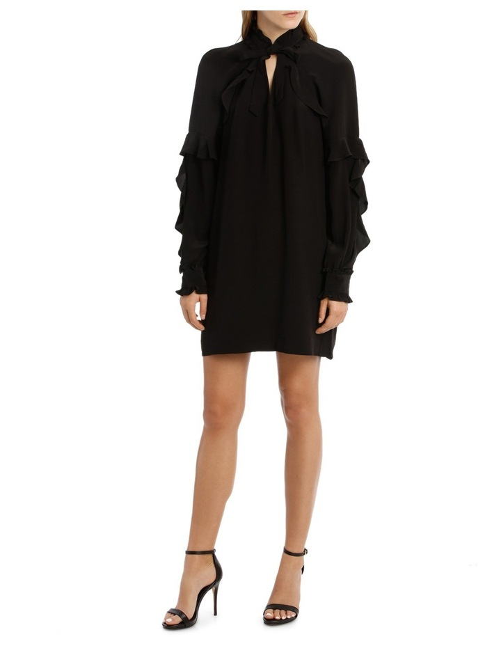 Black Ruffle Detail Shift Dress image 1
