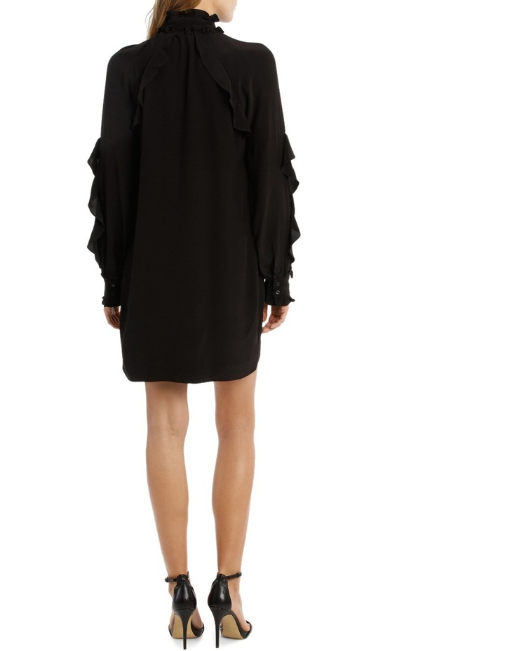 Black Ruffle Detail Shift Dress image 3