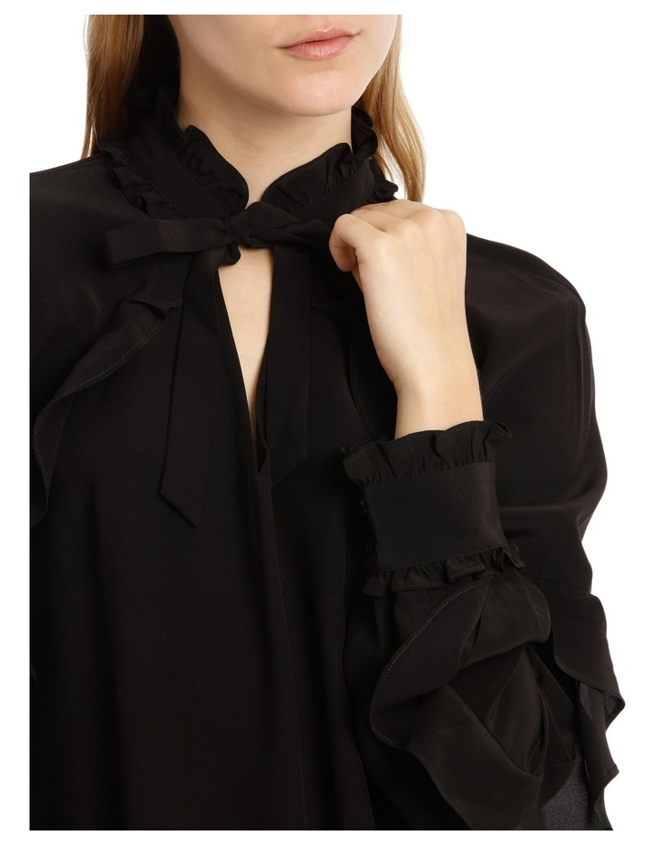 Black Ruffle Detail Shift Dress image 4