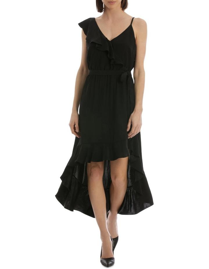 Black One Shoulder Ruffle Dress image 1