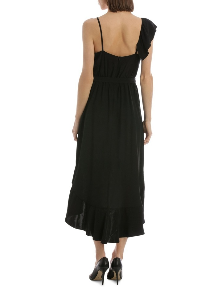 Black One Shoulder Ruffle Dress image 3