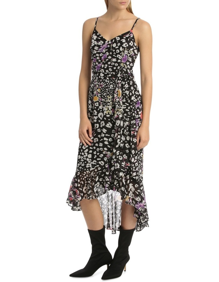 Black  Animal Floral V - Neck Ruffle Dress image 1