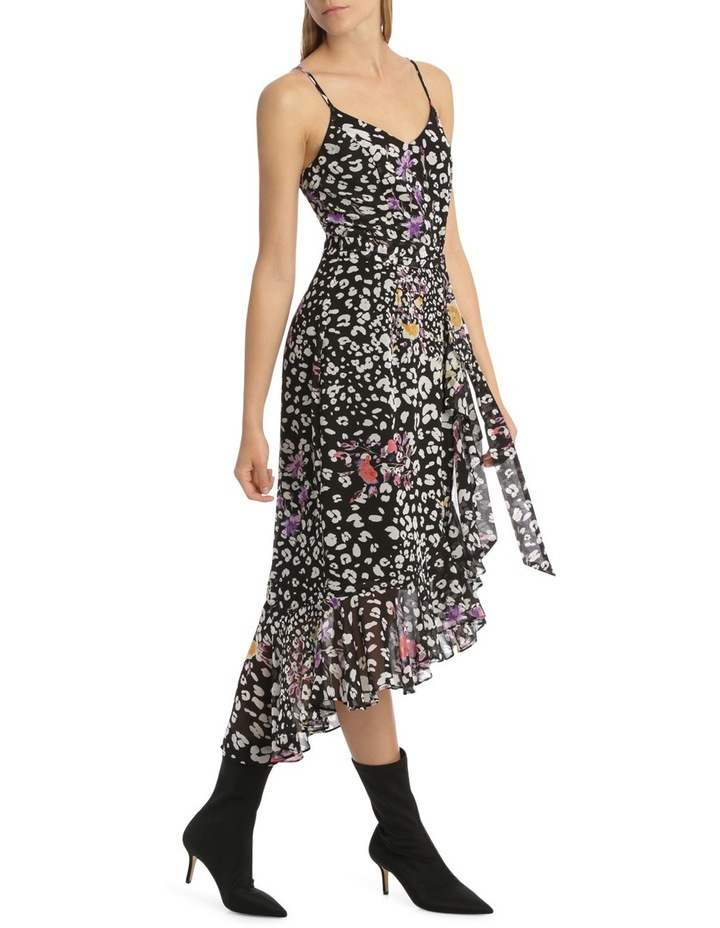 Black  Animal Floral V - Neck Ruffle Dress image 2