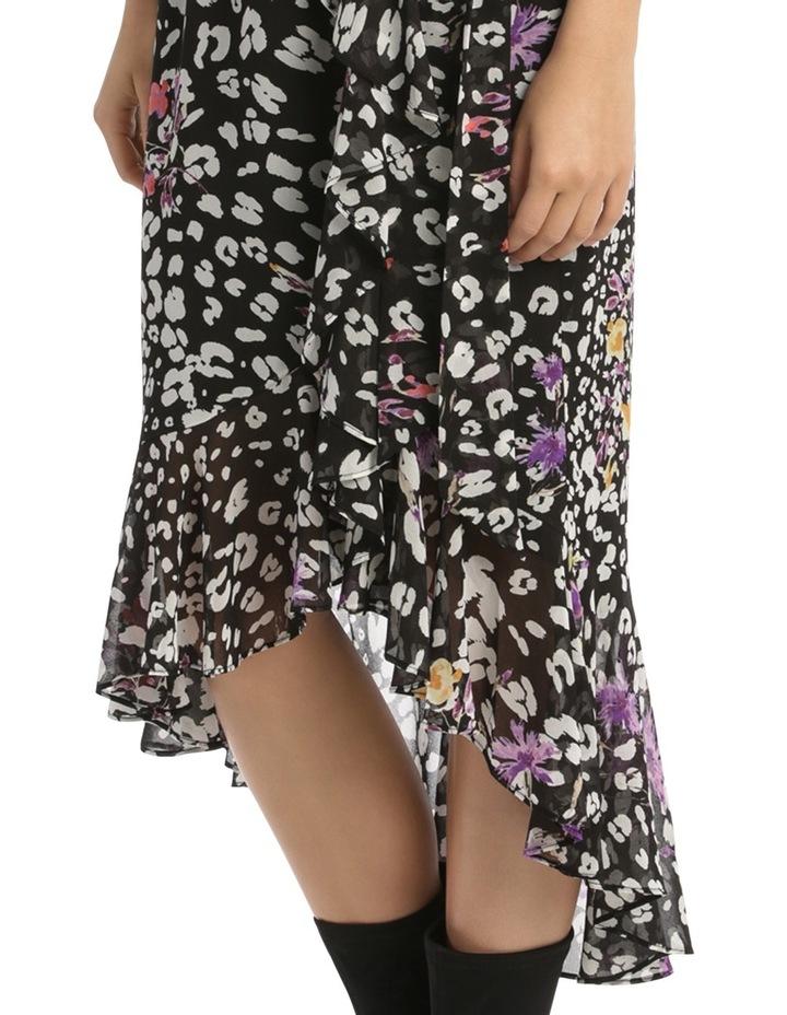 Black  Animal Floral V - Neck Ruffle Dress image 4