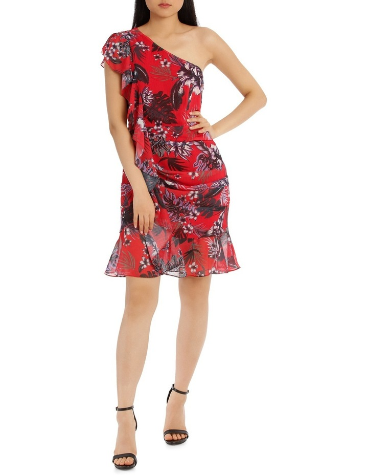 One Shoulder Red Tropical Ruffle Dress image 1
