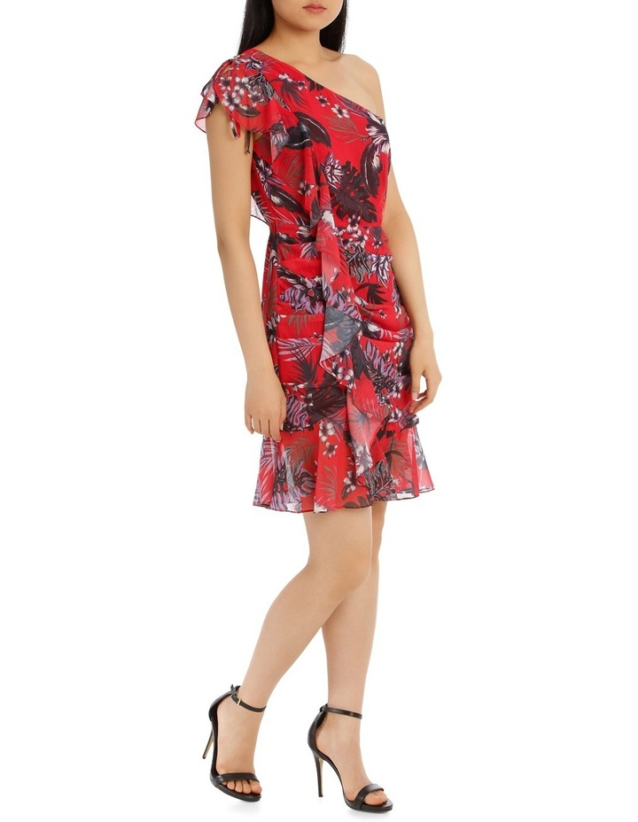 One Shoulder Red Tropical Ruffle Dress image 2
