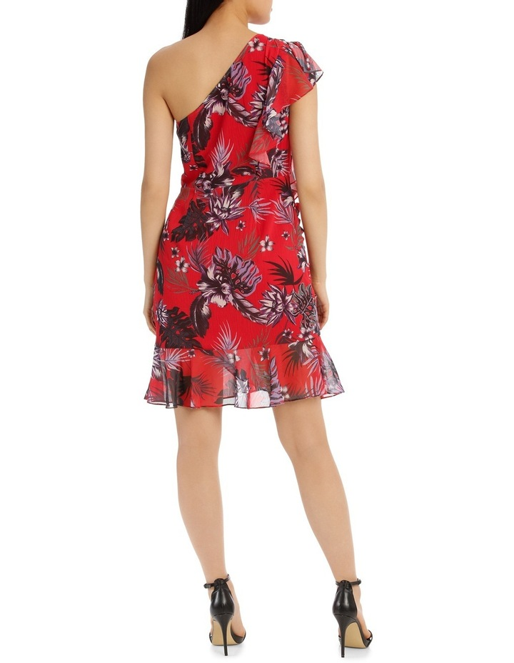 One Shoulder Red Tropical Ruffle Dress image 3