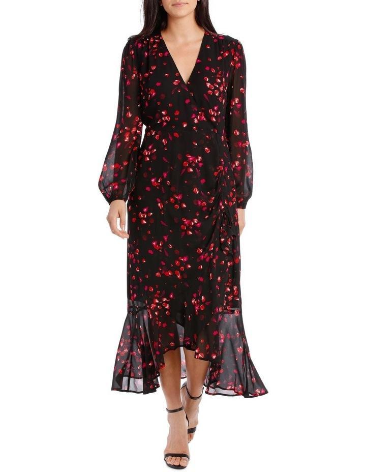 Black Diamond Petal Side Ruffle Dress image 1