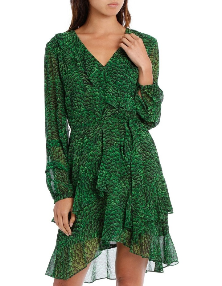 Emerald Lotus Print Frill Wrap Dress image 1