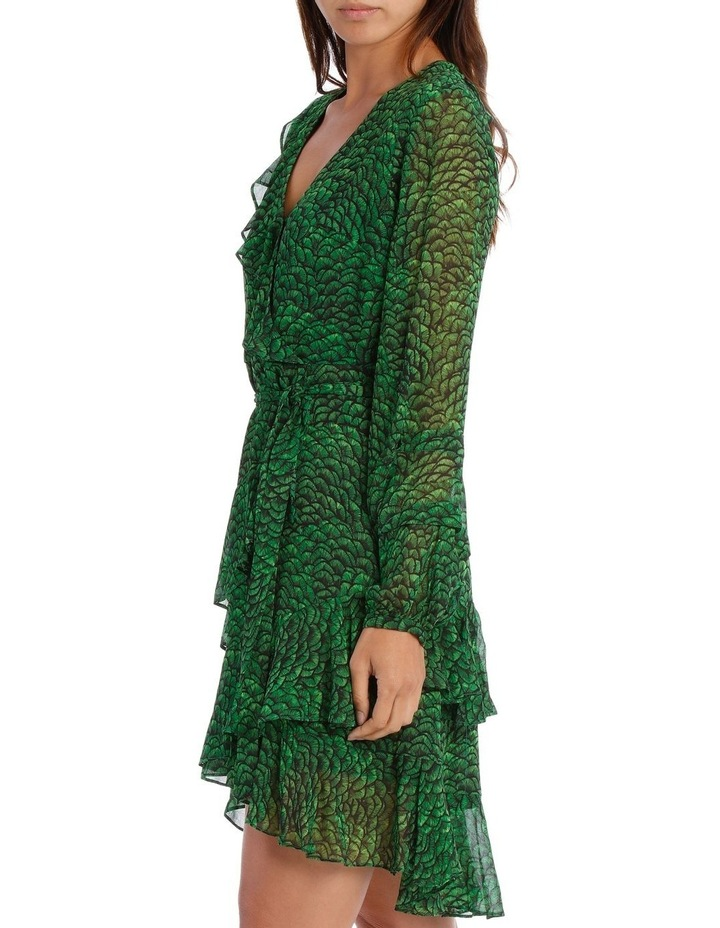 Emerald Lotus Print Frill Wrap Dress image 2