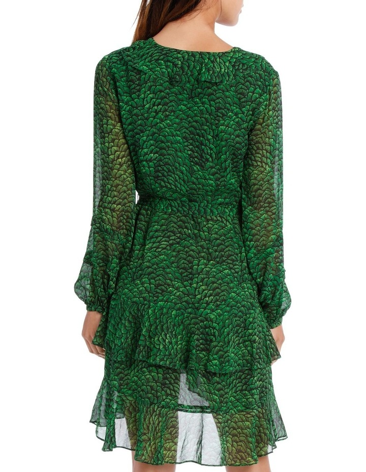 Emerald Lotus Print Frill Wrap Dress image 3