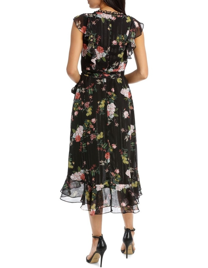 Black Base Cyber Mystique Shirred Waist Midi Dress image 3