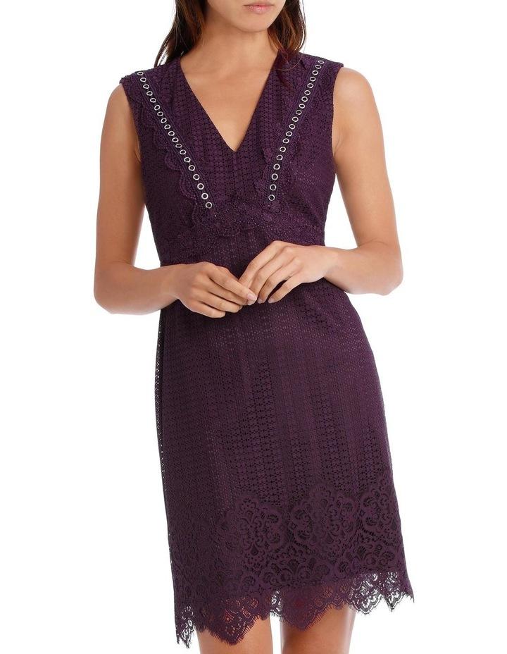 Bordeux Eyelet Trim Lace Dress image 1