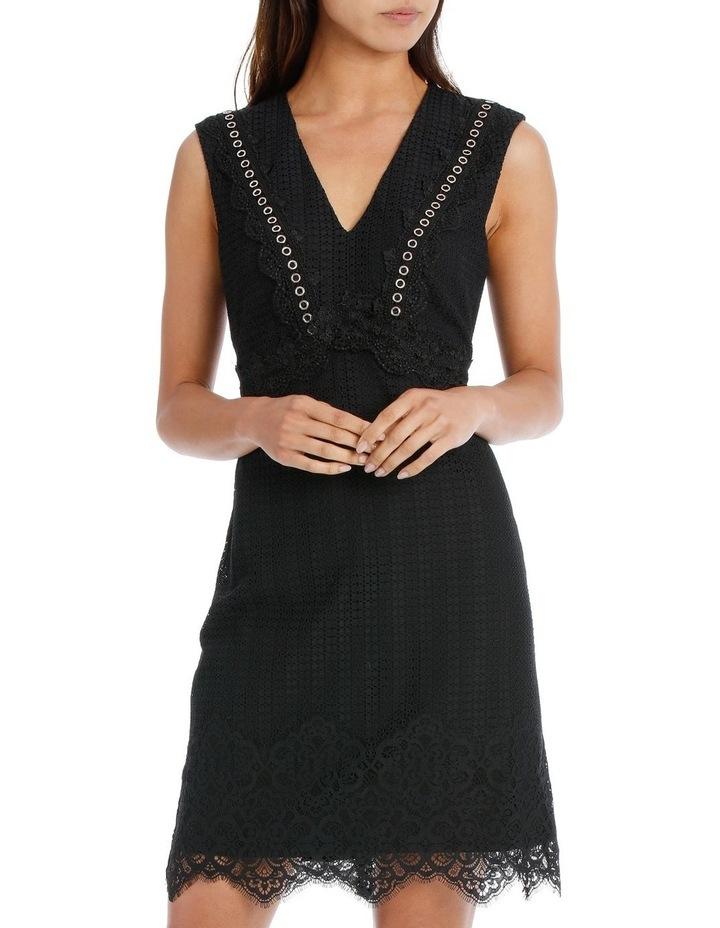 Black Eyelet Trim Lace Dress image 1