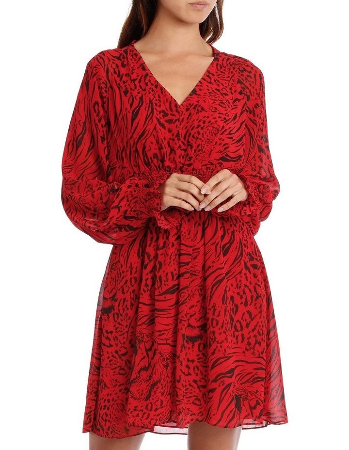 Red Base Tiger Eye Vneck Batwing Dress image 1