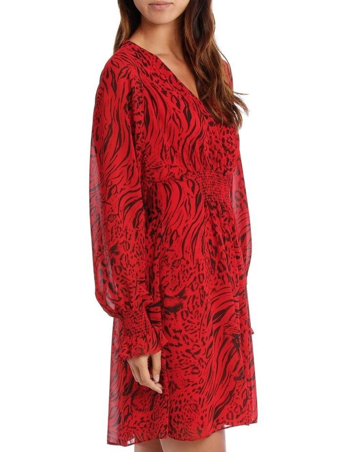 Red Base Tiger Eye Vneck Batwing Dress image 2