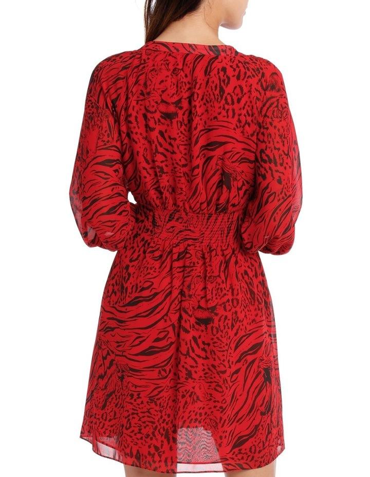 Red Base Tiger Eye Vneck Batwing Dress image 3