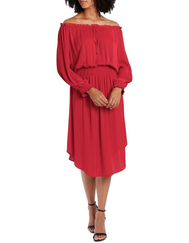 Red Bruise Poly Off The Shoulder Dress image 1