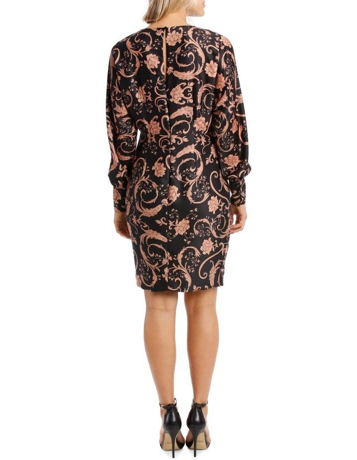 Sandstone Baroque Floral Print Fitted Dress image 3