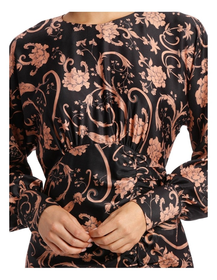Sandstone Baroque Floral Print Fitted Dress image 4