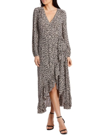 09a76021f Wayne Cooper Gold Leopard Print Wrap Dress