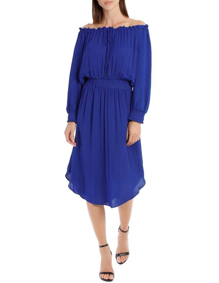 Electric Bruise Poly Off The Shoulder Dress image 1