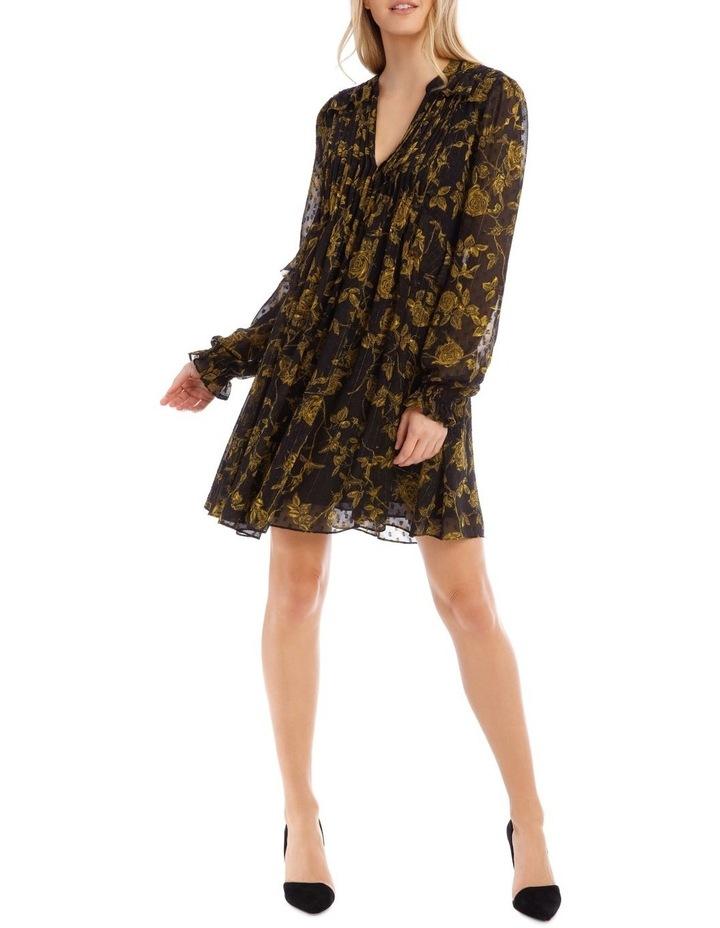 Yellow Grunge Floral Pintuck Frill Tunic Dress image 1