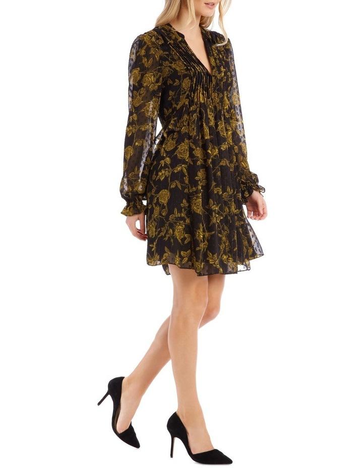 Yellow Grunge Floral Pintuck Frill Tunic Dress image 2