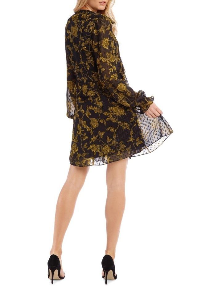 Yellow Grunge Floral Pintuck Frill Tunic Dress image 3