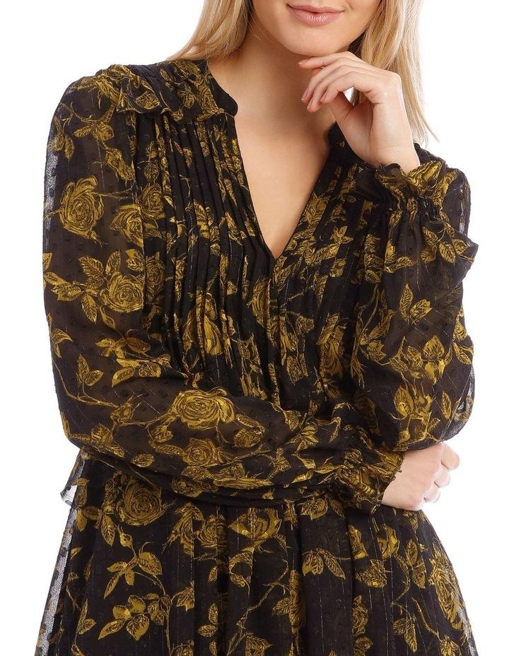 Yellow Grunge Floral Pintuck Frill Tunic Dress image 4