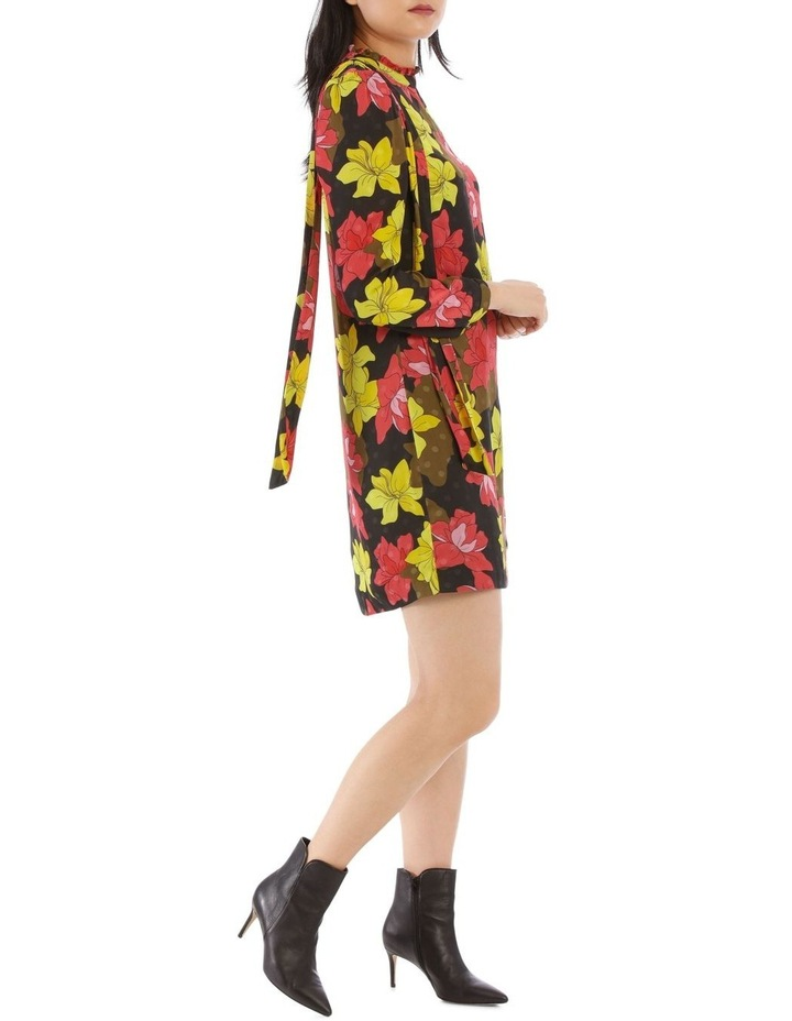 Golden Floral Print One Sleeve Dress image 2