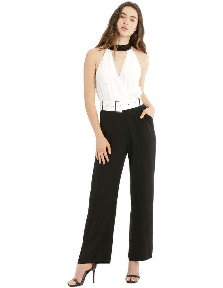 Jumpsuit Halo Neck Self Covered Belt image 1