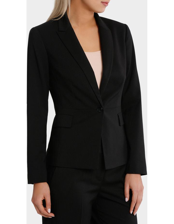 Black Fine Line Suit Jacket image 1